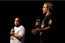 MILWAUKEE, WI - AUGUST 30:  UFC heavyweight Daniel Cormier (L) and UFC bantamweight Uriah Faber (R) during the UFC 164 weigh-in inside the BMO Harris Bradley Center on August 30, 2013 in Milwaukee, Wisconsin. (Photo by Ed Mulholland/Zuffa LLC/Zuffa LLC via Getty Images) *** Local Caption ***Daniel Cormier; Uriah Faber