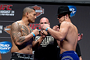 MILWAUKEE, WI - AUGUST 30:  (L-R) Soa Palelei and Nikita Krylov face off during the UFC 164 weigh-in inside the BMO Harris Bradley Center on August 30, 2013 in Milwaukee, Wisconsin. (Photo by Ed Mulholland/Zuffa LLC/Zuffa LLC via Getty Images) *** Local Caption *** Soa Palelei; Nikita Krylov