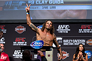 MILWAUKEE, WI - AUGUST 30:  Clay Guida weighs in during the UFC 164 weigh-in inside the BMO Harris Bradley Center on August 30, 2013 in Milwaukee, Wisconsin. (Photo by Ed Mulholland/Zuffa LLC/Zuffa LLC via Getty Images) *** Local Caption *** Clay Guida