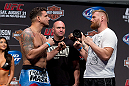 MILWAUKEE, WI - AUGUST 30:  (L-R) Frank Mir and Josh Barnett face off during the UFC 164 weigh-in inside the BMO Harris Bradley Center on August 30, 2013 in Milwaukee, Wisconsin. (Photo by Ed Mulholland/Zuffa LLC/Zuffa LLC via Getty Images) *** Local Caption *** Frank Mir; Josh Barnett