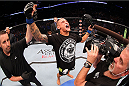 MILWAUKEE, WI - AUGUST 31:  Dustin Poirier celebrates after defeating Erik Koch (not pictured) in their UFC featherweight bout at BMO Harris Bradley Center on August 31, 2013 in Milwaukee, Wisconsin. (Photo by Ed Mulholland/Zuffa LLC/Zuffa LLC via Getty Images) *** Local Caption *** Dustin Poirier