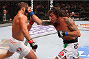 MILWAUKEE, WI - AUGUST 31:  (R-L) Clay Guida punches Chad Mendes in their UFC featherweight bout at BMO Harris Bradley Center on August 31, 2013 in Milwaukee, Wisconsin. (Photo by Ed Mulholland/Zuffa LLC/Zuffa LLC via Getty Images) *** Local Caption *** Chad Mendes; Clay Guida