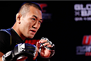 BELO HORIZONTE, BRAZIL - SEPTEMBER 02:  Yushin Okami holds an open training session for media at the Ouro Minas Palace Hotel on September 2, 2013 in Belo Horizonte, Brazil. (Photo by Josh Hedges/Zuffa LLC/Zuffa LLC via Getty Images)