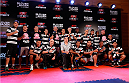 BELO HORIZONTE, BRAZIL - SEPTEMBER 02:  Members of the CR Vasco da Gama football club pose for a photo with Glover Teixeira (top row, fifth left) after an open training session for media at the Ouro Minas Palace Hotel on September 2, 2013 in Belo Horizonte, Brazil. (Photo by Josh Hedges/Zuffa LLC/Zuffa LLC via Getty Images)