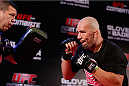 BELO HORIZONTE, BRAZIL - SEPTEMBER 02:  Glover Teixeira holds an open training session for media at the Ouro Minas Palace Hotel on September 2, 2013 in Belo Horizonte, Brazil. (Photo by Josh Hedges/Zuffa LLC/Zuffa LLC via Getty Images)