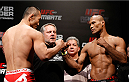 BELO HORIZONTE, BRAZIL - SEPTEMBER 03:  (L-R) Opponents Yushin Okami and Ronaldo