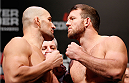 BELO HORIZONTE, BRAZIL - SEPTEMBER 03:  (L-R) Opponents Glover Teixeira and Ryan Bader face off during the UFC weigh-in event at Mineirinho Arena on September 3, 2013 in Belo Horizonte, Brazil. (Photo by Josh Hedges/Zuffa LLC/Zuffa LLC via Getty Images)