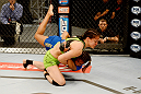 LAS VEGAS, NV - JUNE 6:  Shayna Baszler (green shorts) tackles Julianna Pena (blue shorts) in their preliminary fight during filming of season eighteen of The Ultimate Fighter on June 6, 2013 in Las Vegas, Nevada. (Photo by Al Powers/Zuffa LLC/Zuffa LLC via Getty Images)