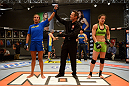 LAS VEGAS, NV - JUNE 6:  Julianna Pena (L) celebrates after being declared winner against Shayna Baszler (R) by submission in their preliminary fight during filming of season eighteen of The Ultimate Fighter on June 6, 2013 in Las Vegas, Nevada. (Photo by Al Powers/Zuffa LLC/Zuffa LLC via Getty Images)