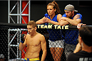 LAS VEGAS, NV - JUNE 10:  (L-R) Chris Holdsworth is seen in his corner with Coach Miesha Tate and trainer Brian Carraway in his preliminary fight against Chris Beal (not pictured) during filming of season eighteen of The Ultimate Fighter on June 10, 2013 in Las Vegas, Nevada. (Photo by Al Powers/Zuffa LLC/Zuffa LLC via Getty Images) *** Local Caption ***Chris Holdsworth; Chris Beal