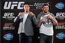 TORONTO, CANADA - SEPTEMBER 19:  (L-R) UFC heavyweights Brendan Schaub and Matt Mitrione pose for the median during the UFC 165 Ultimate Media Day at the Shangri-La Hotel on September 19, 2013 in Toronto, Ontario, Canada. (Photo by Jeff Bottari/Zuffa LLC/Zuffa LLC via Getty Images) *** Local Caption *** Brendan Schaub; Matt Mitrione