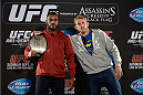TORONTO, CANADA - SEPTEMBER 19:  (L-R) Jon 'Bones' Jones and Alexander Gustafsson pose for the media during the UFC 165 Ultimate Media Day at the Shangri-La Hotel on September 19, 2013 in Toronto, Ontario, Canada. (Photo by Jeff Bottari/Zuffa LLC/Zuffa LLC via Getty Images) *** Local Caption *** Jone Jones; Alexander Gustafsson