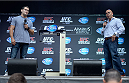 TORONTO, CANADA - SEPTEMBER 20:  UFC Middleweight Champion Chris Weidman (L) and Sportsnet host Joe 'Showdown' Ferraro (R) field questions from the crowd during a Q&A session prior to the UFC 165 weigh-in at the Maple Leaf Square on September 20, 2013 in Toronto, Ontario, Canada. (Photo by Jeff Bottari/Zuffa LLC/Zuffa LLC via Getty Images)