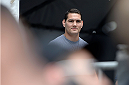 TORONTO, CANADA - SEPTEMBER 20:  UFC Middleweight Champion Chris Weidman waits off stage prior to being introduced during a Q&A session before the UFC 165 weigh-in at the Maple Leaf Square on September 20, 2013 in Toronto, Ontario, Canada. (Photo by Jeff Bottari/Zuffa LLC/Zuffa LLC via Getty Images)