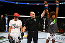TORONTO, CANADA - SEPTEMBER 21:  Alex Caceres (R) celebrates after defeating Roland Delorme (L) in their UFC bantamweight bout at the Air Canada Center on September 21, 2013 in Toronto, Ontario, Canada. (Photo by Al Bello/Zuffa LLC/Zuffa LLC via Getty Images) *** Local Caption *** Roland Delorme; Alex Caceres