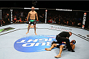 TORONTO, CANADA - SEPTEMBER 21:  (L-R) John Makdessi celebrates after knocking out Renee Forte in their UFC lightweight bout at the Air Canada Center on September 21, 2013 in Toronto, Ontario, Canada. (Photo by Al Bello/Zuffa LLC/Zuffa LLC via Getty Images) *** Local Caption *** John Makdessi; Renee Forte