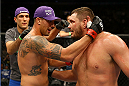 TORONTO, CANADA - SEPTEMBER 21:  (L-R) Brendan Schaub embraces Matt Mitrione after Brendan defeated Matt in their UFC heavyweight bout at the Air Canada Center on September 21, 2013 in Toronto, Ontario, Canada. (Photo by Al Bello/Zuffa LLC/Zuffa LLC via Getty Images) *** Local Caption *** Brendan Schaub; Matt Mitrione