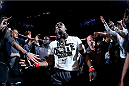 TORONTO, CANADA - SEPTEMBER 21:  Jon 'Bones' Jones enters the arena prior to his fight against Alexander Gustafsson in their UFC light heavyweight championship bout at the Air Canada Center on September 21, 2013 in Toronto, Ontario, Canada. (Photo by Al Bello/Zuffa LLC/Zuffa LLC via Getty Images) *** Local Caption *** Jon Jones