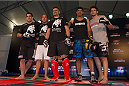 BARUERI, BRAZIL - OCTOBER 7:  Fabio Maldonado (center) and his training team pose during an open training session for media at the Ginasio Jose Correa on October 7, 2013 in Barueri, Sao Paulo, Brazil. (Photo by Jeff Bottari/Zuffa LLC/Zuffa LLC via Getty Images) *** Local Caption *** Fabio Maldonado