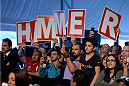 BARUERI, BRAZIL - OCTOBER 8:  Fans of Matt Hamill (not pictured) cheer for the fighter during the UFC Fight Night: Maia v Shields weigh-in at the Ginasio Jose Correa on October 8, 2013 in Barueri, Sao Paulo, Brazil. (Photo by Jeff Bottari/Zuffa LLC/Zuffa LLC via Getty Images)