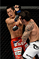 BARUERI, BRAZIL - OCTOBER 9:  (L-R) Dong Hyun Kim gets punched by Erick Silva in their welterweight bout during the UFC Fight Night event at the Ginasio Jose Correa on October 9, 2013 in Barueri, Sao Paulo, Brazil. (Photo by Jeff Bottari/Zuffa LLC/Zuffa LLC via Getty Images)
