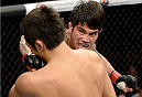 BARUERI, BRAZIL - OCTOBER 9:  (R-L) Erick Silva punches Dong Hyun Kim in their welterweight bout during the UFC Fight Night event at the Ginasio Jose Correa on October 9, 2013 in Barueri, Sao Paulo, Brazil. (Photo by Jeff Bottari/Zuffa LLC/Zuffa LLC via Getty Images)