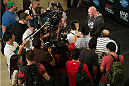 HOUSTON, TX - OCTOBER 16:  UFC President Dana White speaks with the media during the UFC 166 Ultimate Media Day at the Toyota Center on October 16, 2013 in Houston, Texas. (Photo by Jeff Bottari/Zuffa LLC/Zuffa LLC via Getty Images) *** Local Caption *** Dana White