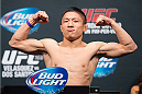 HOUSTON, TX - OCTOBER 18:  Kyoji Horiguchi weighs in during the UFC 166 weigh-in at the Toyota Center on October 18, 2013 in Houston, Texas. (Photo by Jeff Bottari/Zuffa LLC/Zuffa LLC via Getty Images) *** Local Caption *** Kyoji Horiguchi
