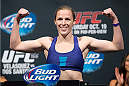 HOUSTON, TX - OCTOBER 18:  Sarah Kaufman weighs in during the UFC 166 weigh-in at the Toyota Center on October 18, 2013 in Houston, Texas. (Photo by Jeff Bottari/Zuffa LLC/Zuffa LLC via Getty Images) *** Local Caption *** Sarah Kaufman