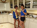 Julianna and Miesha hand out in the TUF kitchen
