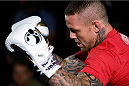 MANCHESTER, ENGLAND - OCTOBER 23:  Ross Pearson holds an open training session for media inside Shooterâs Sports Bar on October 23, 2013 in Manchester, England. (Photo by Josh Hedges/Zuffa LLC/Zuffa LLC via Getty Images)