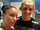 Jessamyn Duke and Raquel Pennington show off their battle wounds.