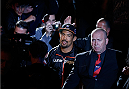 MANCHESTER, ENGLAND - OCTOBER 26:  Mark Munoz enters the arena before his middleweight bout against Lyoto Machida during the UFC Fight Night event at Phones 4 U Arena on October 26, 2013 in Manchester, England. (Photo by Josh Hedges/Zuffa LLC/Zuffa LLC via Getty Images)
