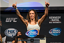 CLARKSVILLE, TN - NOVEMBER 5:  Germaine de Randamie weighs in during the UFC Fight For the Troops weigh-in at the Fort Campbell Sabre Air Field hanger on November 5, 2013 in Clarksville, Tennessee. (Photo by Ed Mulholland/Zuffa LLC/Zuffa LLC via Getty Images)