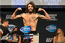 CLARKSVILLE, TN - NOVEMBER 5:  Michael Chiesa weighs in during the UFC Fight For the Troops weigh-in at the Fort Campbell Sabre Air Field hanger on November 5, 2013 in Clarksville, Tennessee. (Photo by Ed Mulholland/Zuffa LLC/Zuffa LLC via Getty Images)