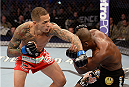 FORT CAMPBELL, KENTUCKY - NOVEMBER 6:  (L-R) Yancy Medeiros punches Yves Edwards in their UFC lightweight bout on November 6, 2013 in Fort Campbell, Kentucky. (Photo by Jeff Bottari/Zuffa LLC/Zuffa LLC via Getty Images) *** Local Caption ***Yves Edwards; Yancy Medeiros