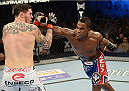 FORT CAMPBELL, KENTUCKY - NOVEMBER 6:  (L-R) Lorenz Larkin punches Chris Camozzi in their UFC middleweight bout on November 6, 2013 in Fort Campbell, Kentucky. (Photo by Jeff Bottari/Zuffa LLC/Zuffa LLC via Getty Images) *** Local Caption ***Chris Camozzi; Lorenz Larkin