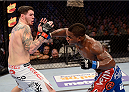 FORT CAMPBELL, KENTUCKY - NOVEMBER 6:  (R-L) Lorenz Larkin punches Chris Camozzi in their UFC middleweight bout on November 6, 2013 in Fort Campbell, Kentucky. (Photo by Jeff Bottari/Zuffa LLC/Zuffa LLC via Getty Images) *** Local Caption ***Chris Camozzi; Lorenz Larkin