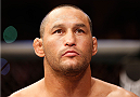 GOIANIA, BRAZIL - NOVEMBER 09:  Dan Henderson stands in the Octagon before his light heavyweight bout against Vitor Belfort during the UFC event at Arena Goiania on November 9, 2013 in Goiania, Brazil. (Photo by Josh Hedges/Zuffa LLC/Zuffa LLC via Getty Images)