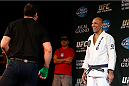LAS VEGAS, NV - NOVEMBER 13: (R-L) UFC legend Royce Gracie looks on as Chael Sonnen holds an open workout session for media inside the Hollywood Theatre at the MGM Grand Hotel/Casino on November 13, 2013 in Las Vegas, Nevada. (Photo by Josh Hedges/Zuffa LLC/Zuffa LLC via Getty Images)