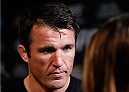 LAS VEGAS, NV - NOVEMBER 13: Chael Sonnen interacts with media after an open workout session inside the Hollywood Theatre at the MGM Grand Hotel/Casino on November 13, 2013 in Las Vegas, Nevada. (Photo by Josh Hedges/Zuffa LLC/Zuffa LLC via Getty Images)