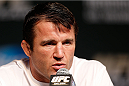 LAS VEGAS, NV - NOVEMBER 14: Chael Sonnen interacts with media during the final UFC 167 pre-fight press conference inside the Hollywood Theatre at the MGM Grand Hotel/Casino on November 14, 2013 in Las Vegas, Nevada. (Photo by Josh Hedges/Zuffa LLC/Zuffa LLC via Getty Images)