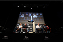 LAS VEGAS, NV - NOVEMBER 15:  A general view of the four UFC legends on stage during a Q&A session before the UFC 167 weigh-in inside the MGM Grand Garden Arena on November 15, 2013 in Las Vegas, Nevada. (Photo by Josh Hedges/Zuffa LLC/Zuffa LLC via Getty Images)