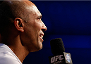 LAS VEGAS, NV - NOVEMBER 15:  UFC legend Royce Gracie interacts with fans during a Q&A session before the UFC 167 weigh-in inside the MGM Grand Garden Arena on November 15, 2013 in Las Vegas, Nevada. (Photo by Josh Hedges/Zuffa LLC/Zuffa LLC via Getty Images)