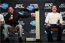 LAS VEGAS, NEVADA - NOVEMBER 15:  UFC legends Mark Coleman (L) and Dan Severn interact with fans during a Q&A session before the UFC 167 weigh-in event at the MGM Grand Garden Arena on November 15, 2013 in Las Vegas, Nevada. (Photo by Jeff Bottari/Zuffa LLC/Zuffa LLC via Getty Images)