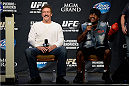 LAS VEGAS, NEVADA - NOVEMBER 15:  UFC legends Dan Severn (L) and Art Jimmerson interact with fans during a Q&A session before the UFC 167 weigh-in event at the MGM Grand Garden Arena on November 15, 2013 in Las Vegas, Nevada. (Photo by Jeff Bottari/Zuffa LLC/Zuffa LLC via Getty Images)
