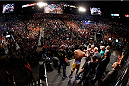 LAS VEGAS, NV - NOVEMBER 15:  A general view of the arena as UFC welterweight champion Georges St-Pierre and challenger Johny Hendricks face off during the UFC 167 weigh-in inside the MGM Grand Garden Arena on November 15, 2013 in Las Vegas, Nevada. (Photo by Josh Hedges/Zuffa LLC/Zuffa LLC via Getty Images)