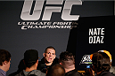 LAS VEGAS, NV - NOVEMBER 27:  Nate Diaz interacts with media during media day ahead of The Ultimate Fighter season 18 live finale inside the Mandalay Bay Events Center on November 27, 2013 in Las Vegas, Nevada. (Photo by Josh Hedges/Zuffa LLC/Zuffa LLC via Getty Images)