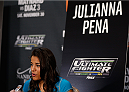 LAS VEGAS, NV - NOVEMBER 27:  The Ultimate Fighter women's bantamweight finalist Julianna Pena interacts with media during media day ahead of The Ultimate Fighter season 18 live finale inside the Mandalay Bay Events Center on November 27, 2013 in Las Vegas, Nevada. (Photo by Josh Hedges/Zuffa LLC/Zuffa LLC via Getty Images)