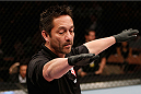 LAS VEGAS, NV - NOVEMBER 30:  Referee Mario Yamasaki calls a stoppage to Akira Corassani and Maximo Blanco in their featherweight fight during The Ultimate Fighter season 18 live finale inside the Mandalay Bay Events Center on November 30, 2013 in Las Vegas, Nevada. (Photo by Josh Hedges/Zuffa LLC/Zuffa LLC via Getty Images) *** Local Caption *** Mario Yamasaki